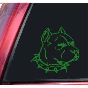 Pit Bull Pitbull Head #1 Vinyl Decal Sticker   Green