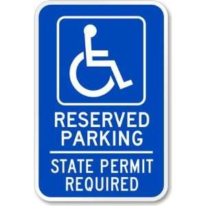 Reserved Parking State Permit Required (handicapped symbol