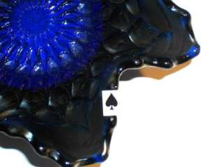 SCARCE DUGAN ELECTRIC BLUE FISHSCALE & BEADS CARNIVAL GLASS BOWL EXC