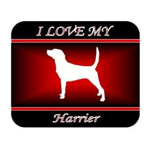 I Love My Harrier Dog Mouse Pad   Red Design Everything