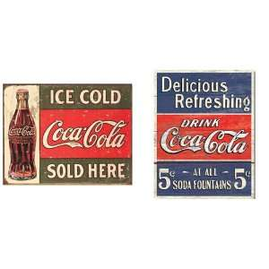 Nostalgic Coca Cola Tin Metal Sign Bundle   2 retro signs
