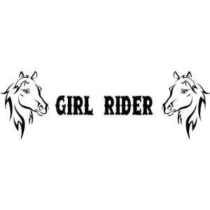 GIRL RIDER Horse Heads Vinyl Decal   Sticker  Car Truck