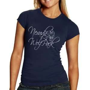 Nevada Wolf Pack Ladies Navy Blue Script T shirt Sports