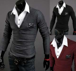 2012 Homme Mens Casual Designer Layerd Long Sleeve POLO T Shirts (US