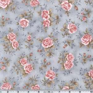 45 Wide Zen Rose Antique Light Blue Fabric By The Yard