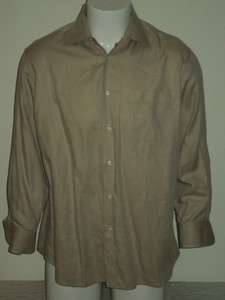 HUGO BOSS Beige Cotton Dress Shirt Sz 16.5 32/33