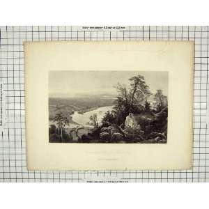 ENGRAVING VIEW CONNECTICUT VALLEY MOUNT TOM HUNT