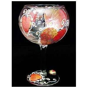 Hearts of Fire Design   Hand Painted   Goblet   12.5 oz