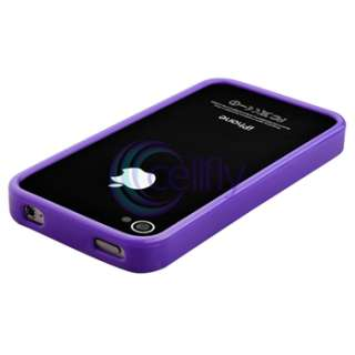 Soft TPU Rubber Case+Pen+Privacy Pro For iPhone 4 s 4s 4G 4th