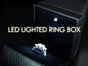The Ultimate Deluxe BLACK LEATHER Lighted LED Engagement Proposal RING