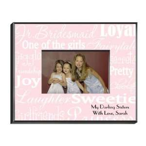 Personalized Junior Bridesmaid Frame   White on Pink