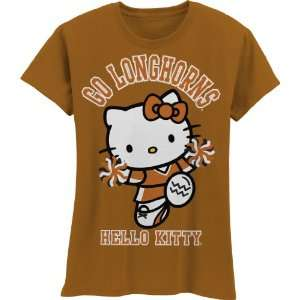 NCAA Texas Longhorns Hello Kitty Pom Pom Girls Crew Tee Shirt