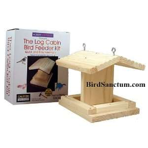 Wooden Log Cabin Bird Feeder Kit