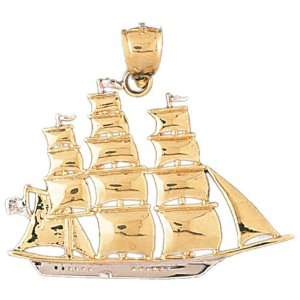 14kt Two Tone Gold Pirate Ship Pendant Jewelry
