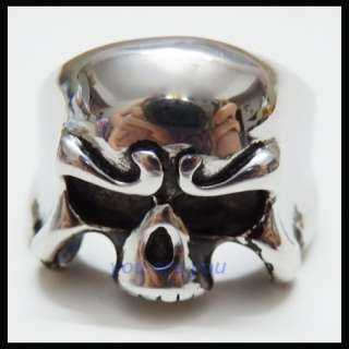 NEW Fashion STAINLESS STEEL SKULL Head Punk MENS RING Size 9  14 w