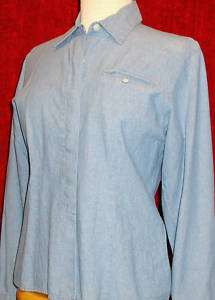 TALBOTS PETITES Womens S Light Blue DENIM Cotton Button Down Shirt