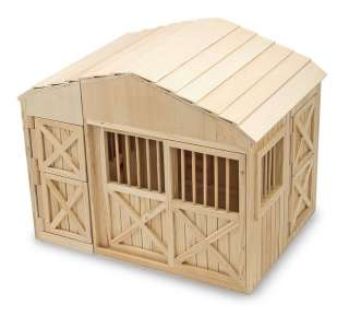 Melissa & Doug Wooden Play Folding Horse Stable 000772007856