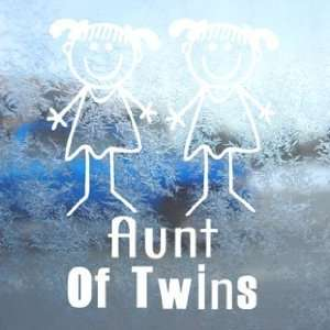 Aunt Of Twins G/G White Decal Car Window Laptop White