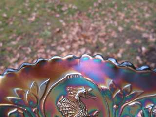 Antique DRAGON & LOTUS FENTON Carnival Glass Bowl GREEN IRIDESCENT