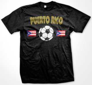 Puerto Rico Flag Soccer Football Sports Mens T shirt