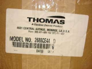 FOR SALE IS 1 THOMAS DIAPHRAGM VACUUM PUMP 2688CE44 115V 1600RPM NEW.