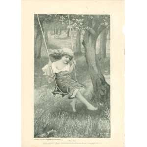 1897 Print Girl in Tree Swing