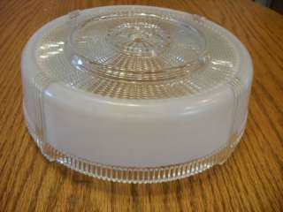 1940s ART DECO Ceiling Light Shade White & Clear theatre ribbed edges