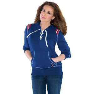 Texas Rangers Womens Lace Up Hooded Sweatshirt (Blue