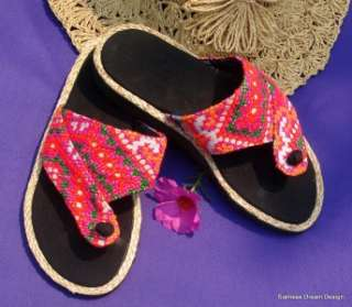 Girls Hmong Pink Embroidered Sandals Shoes Size 3