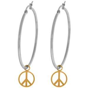 Jewelry Womens Gold pvd Peace Sign 316L Stainless Steel Hoop Earrings
