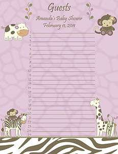 Personalized Cocalo Jacana Baby Shower Guest List   Zebra, Giraffe
