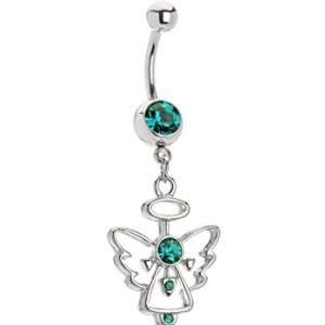 Blue Zircon Gem Hollow Angel Belly Ring