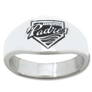 San Diego Padres Mens Sterling Silver Cigar Band Ring