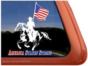 AMERICAN STANDS STRONG ~ Drill Team Paint Horse Trailer Window Decal