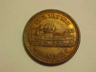 1863 OUR LITTLE MONITOR PICTORIAL RED & BROWN CIVIL WAR TOKEN