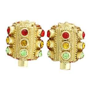 Traffic Light Hip Hop Earrings, Gold Tone