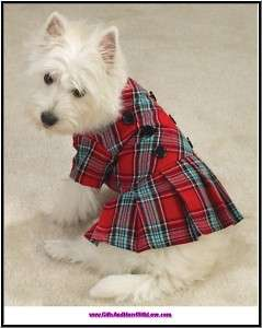 ESC NWT RED PLAID PLEATED DOG BUTTON JUMPER DRESS ~ XS