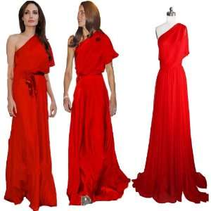 Beautifly Red Chiffon One shoulder Long Formal Prom Gown Evening Dress