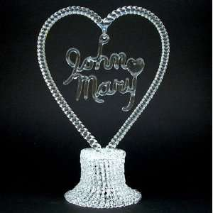 Personalized Hand Blown Glass Wedding Cake Topper