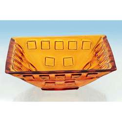 Forgee Clear Orange Square Glass Vessel Sink