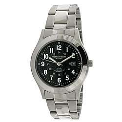 Timetech Mens Black Dial Round Stainless Steel Watch