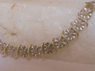 SOLID YELLOW GOLD DIAMOND FANCY S DESIGN TENNIS BRACELET LONG 7 6