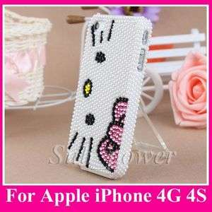 So Cute Full Pearl white hello kitty bling Hard Case cover for iPhone