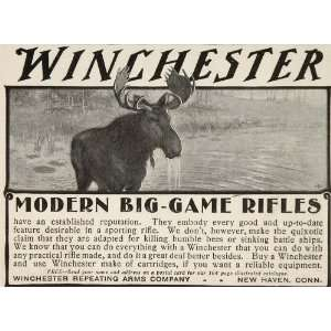 1901 Ad Winchester Big Game Hunting Rifle Gun Moose