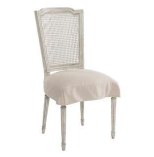 Country Antique White Shabby Chic Slip Cover Dining Chair