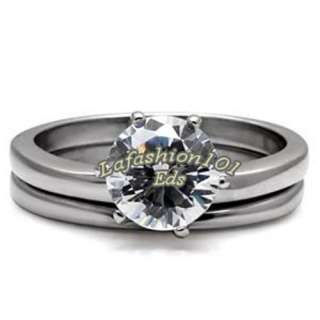 Solitaire CZ Stainless Steel Wedding/Engagement Ring Set SIZE 6