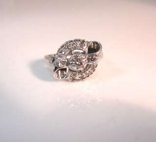 ANTIQUE ART DECO RETRO HIGH QUALITY 11 DIAMOND 14K WHITE GOLD DESIGNER