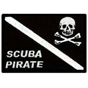 Scuba Pirate Patch Embroidered Iron On Diving Jolly Roger