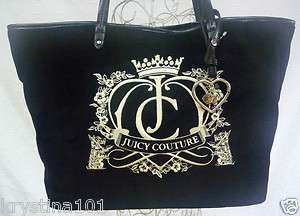 Juicy Couture Scottie Dogs Velour Tote Bag Crown Black Leather Bag