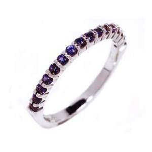 18k White Gold 2mm Sapphire Prong Set Half Circle Ring Size 6.5 Ct.tw